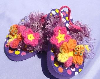 Toddler Girl Flip Flops Lavender Flowers Sandals Small Toddler Girl Sandals Small Toddler Girl Flip Flops Size 5/6 Girl Sandals