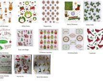 2 Sheets - CHRISTMAS Stickers - Choose Style | Reindeer | Santa | Christmas Lights | Wreaths| Stars