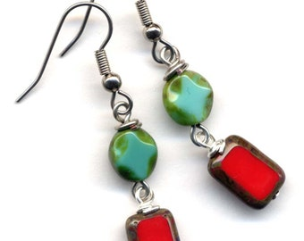 Red and Turquoise Green Earrings, Surgical Steel  Earrings by AnnaArt72