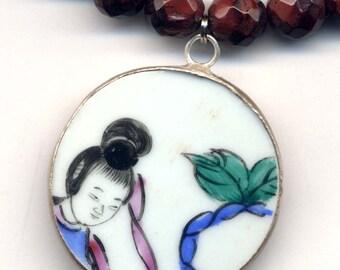 Porcelain Geisha Necklace , Porcelain Pendant, Geisha Pendant, Iron Tiger Eye Necklace, Handmade Jewelry by AnnaArt72