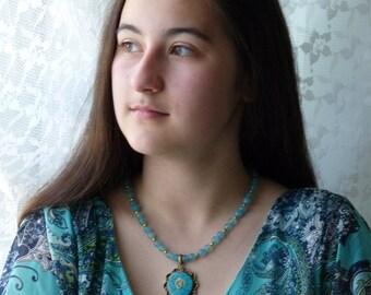 Tibetan Om Mandala Necklace, Nepali Om Turquoise Mandala Pendant, Teal Onyx  Necklace, Handmade Nepal Jewelry by AnnaArt72
