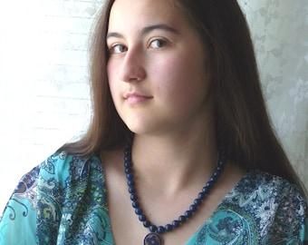Nepal Necklace, Tibet Mandala Necklace, Lapis Lasuli Mandala Necklace, Ethnic Lapis Necklace, Nepal Jewelry by AnnaArt72