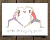 Partner Yoga w/Heart, Valentine's Day Card (Blank Inside)