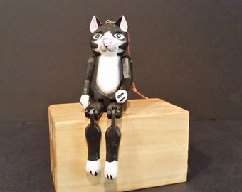 Hand Carved Miniature Cat Puppet Shelf Sitter or Ornament