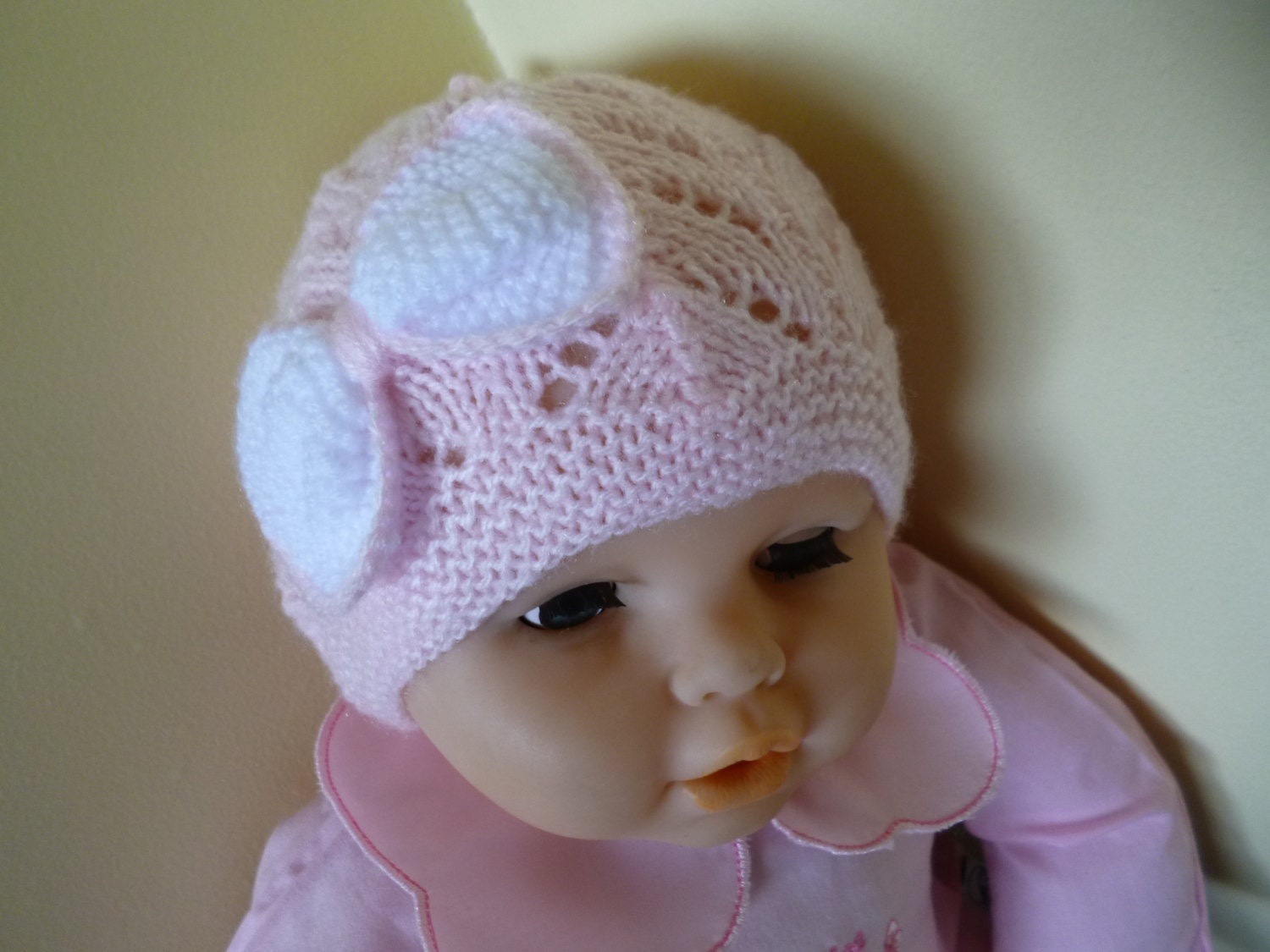 knitted girl hat newborn baby bonnet baby shower gift take