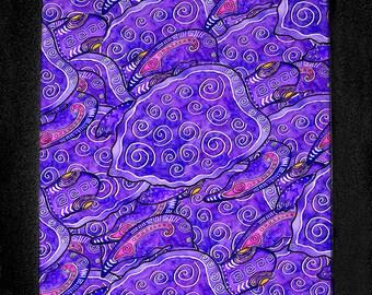 Purple Turtles Cutting Board or Hot Plate