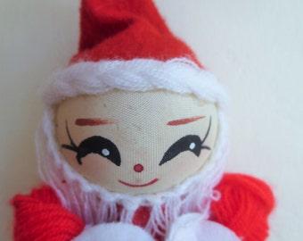 Vintage Santa Ornament, Yarn Santa, Cloth Face, Christmas Decor, Made in Taiwan, Cute Kawaii Zakka, Holiday Decor, Tree Ornament, Retro Xmas