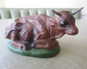 Vintage Cow Figurine, Nativity Animal, Made in Japan, Nativity Cow, Farm Animal, Vintage Nativity, Brown Cow, Animal Figurine, Barnyard Cow