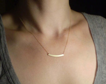 Simple Bar Necklace, Bar Charm, Layering Necklace
