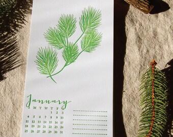 2015 Limited Edition Letterpress Art Print Calendar, reusable, recyclable