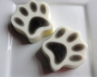 Paw Soap - Goat Milk Soap - Scented Cotton Blossom or Root Beer - Black and white - Novelty - Pet lover gift - Teen - Easter - Shaped Soap