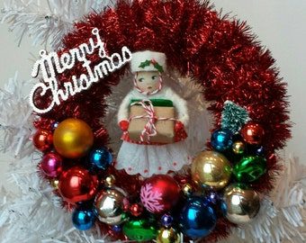 SALE Christmas Wreath with Vintage Girl in Spun Cotton