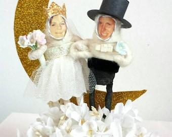 Spun Cotton Custom Paper Moon Wedding Cake Topper