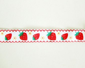 Strawberries Sewing Trim - Jacquard Ribbon - For Sewing / Embellishing / Packaging