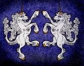 HUGE Rampant Unicorn Heraldic Heraldry  Iron on Patch Many Color Choices