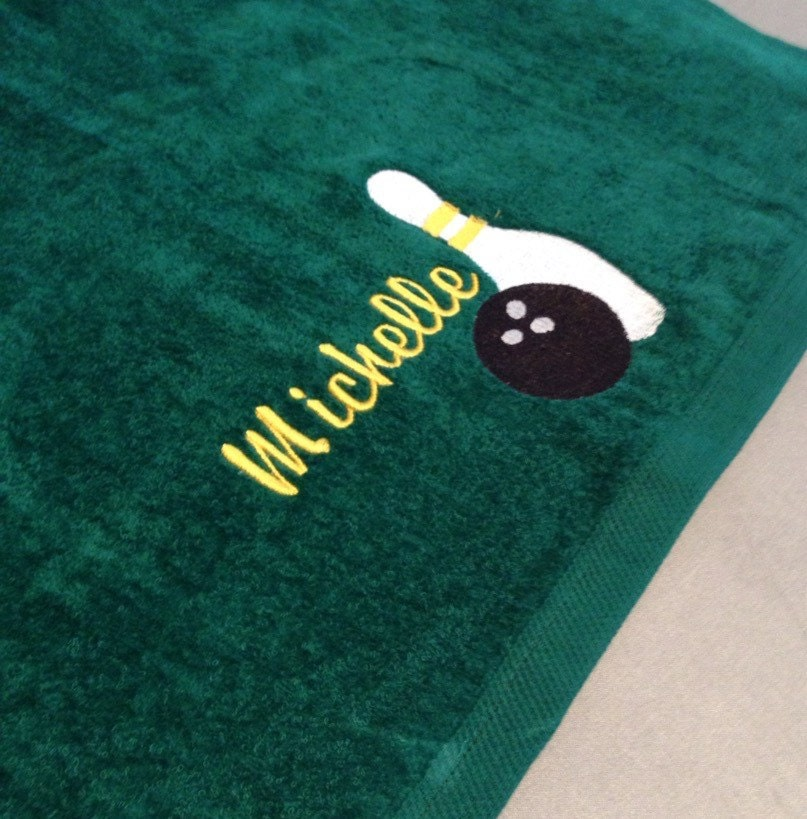 Personalized Sweat Towel: Personalized Bowling Ball & Pin Sports Sweat Towel