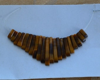 Pretty Tiger's Eye Stones for Egyptian Necklace, Supplies, Crafts, Beads, Semi-Precious (Q1)