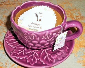 Tea Cup Candle, Lilac Scent, Beige, Tan, Brown, Vintage Tea Cup & Saucer, Purple, Tea Party Theme, Grape Decor, Tea Cup Decor, Grape Cluster