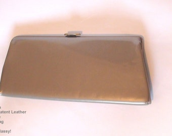 RETRO 1950s Light Gold Hint Brown Patent  Leather Clutch Purse bag Wedding Bridal Mother of the Bride Fun  on SaLe Now