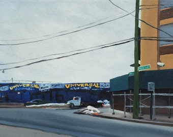 """Flushing and Stewart, Universal, original oil painting on paper, 12"""" x 9"""""""