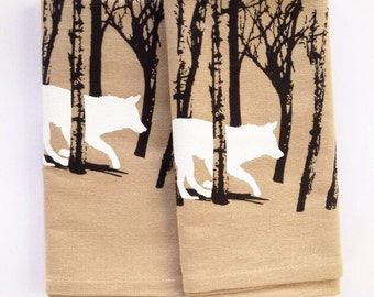 One Fox / Wolf Kitchen tea towel, flour sack towel, white or unbleached cotton, screenprint, orange and black ink, running in the woods