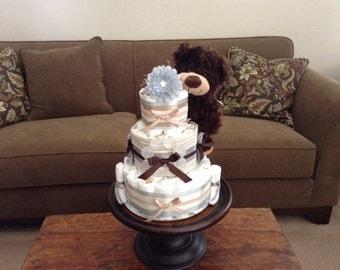 Gender Neutral Diaper cake Cream and greys Baby shower gift centerpiece