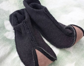 XL elf slippers upcycled wool, cashmere and leather