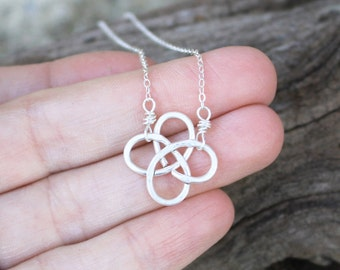 Mini Celtic Knot Necklace,Sterling Silver, Minimalist, Wire Jewelry