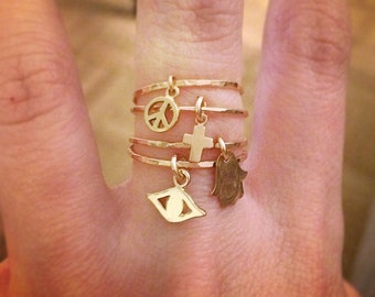 Gold Charm Stacker Rings
