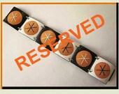 RESERVED for Joanne-Balazs Modernist Enamel Link Bracelet,Sparkly Orange/Black/White,Vintage Jewelry,Women