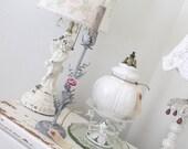 Vintage Tole Lamp * Jeanne d' Arc * Pink Porcelain Rose * Shabby French Cottage