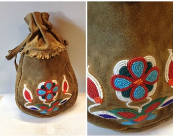 60s Native American leather deerskin beaded pouch purse