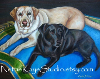 CUSTOM PET PORTRAIT Two Pets in oil on 16 x 20  Stretched Canvas