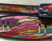 IPod Nano Made in GA USA Leather Watch Band or Wrist Band Cuff with Colorful Waves Design and Black Border Custom Sized