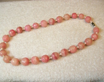Rose Rhodochrosite Necklace / Rare Large 12mm To 15mm Rounds / 19 Inches