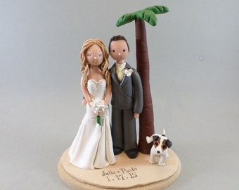 Bride & Groom Custom Outdoor/ Beach Theme Wedding Cake Topper