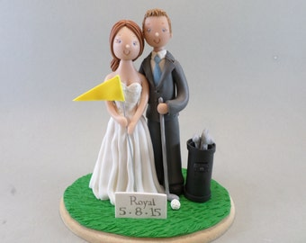 Bride & Groom Golf Fans Personalized Wedding Cake Topper