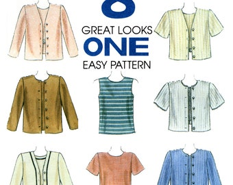 Misses Top and Jacket Sewing Pattern - Womens Twinset Pattern - McCalls 8155 - Uncut, FF