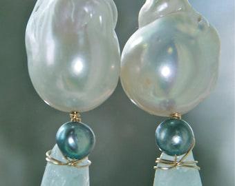 Stunning baroque pearl earrings