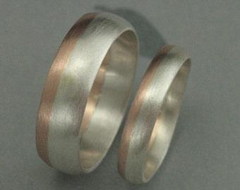 modern rounded two tone wedding band set bimetal wedding ring set rose - Modern Wedding Rings