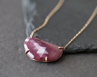 Natural Rose Cut Pink Sapphire Necklace
