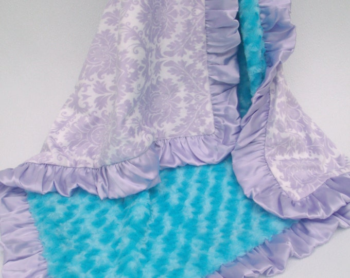 Lavender Damask and Aqua Rose Swirl Minky Baby Blanket Can Be Personalized