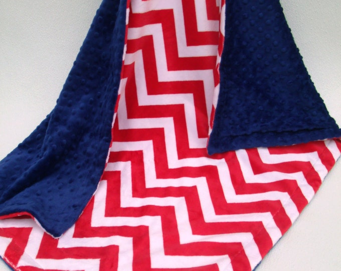 Boy's Red Chevron and Royal Blue Minky Dot Baby Blanket