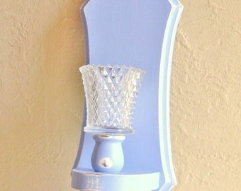 Light Blue Shabby Chic Wood Candle Sconce with Glass Holder