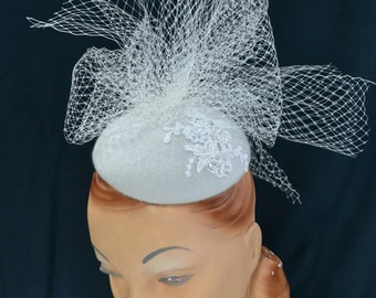 Wedding Hat in Off White blocked Felt with Applique and Veiling