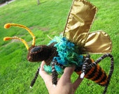 """10 1/2"""" bee, crocheted bee, fantasy insect, not a good toy for children"""