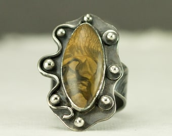 Royal Sahara Jasper Ring - Sterling Picture Jasper Statement Ring - Ready to Ship