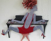 Music art metal wall Piano sculpture metal wall Lady handmade recycled metal music theme red and black