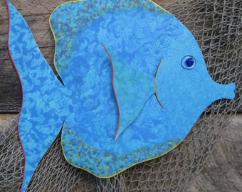 Large metal art wall sculpture marine - Tropical Fish - aqua blue green 18 x 19 bathroom beach house art blue aqua
