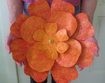 Metal Wall Art Hibiscus Flower Large Exotic Recycled Metal Indoor Outdoor Wall Decor orange 13 inches